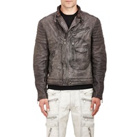 Quilted Moto Jacket Gray
