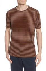 Ag Jeans Theo Striped Cotton And Linen T Shirt Bronze Clay Navy