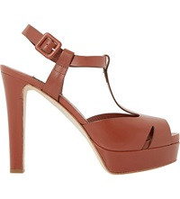 Dune Marykate Peep Toe Platform Heels Tan Leather
