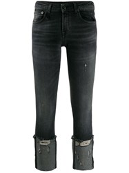 R 13 R13 Cropped And Distressed Skinny Fit Jeans Black
