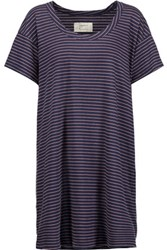 Current Elliott The Slouchy Striped Cotton Blend Mini Dress Navy