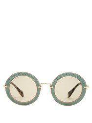 Miu Miu Noir Round Frame Sunglasses Light Blue