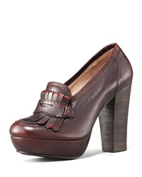 Frye Naiya Leather Loafer Pump Dark Brown