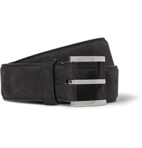 Loro Piana 3.5Cm Navy Nubuck Belt Blue