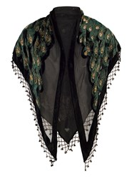 Chesca Peacock Feather Printed Velvet Shawl Black
