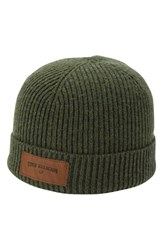 True Religion Men's Brand Jeans Rib Knit Beanie Green Olive