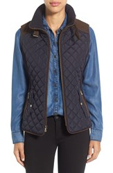 Gallery Women's Quilted Vest With Faux Suede Trim Night Indigo
