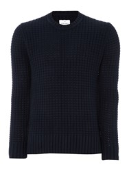 Peter Werth Men's Davis Chunky Knitted Cotton Crew Neck Navy