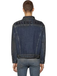 Balenciaga Embroidered Logo Cotton Denim Jacket Blue