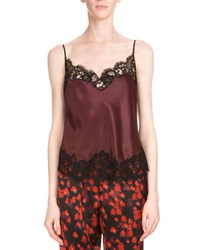 Givenchy Lace Trim Two Tone Camisole Burgundy Red Women's