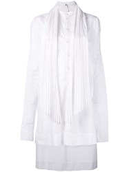 Masnada Pleated High Low Dress Women Cotton Polyester 42 White