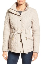 Gallery Women's Belted Quilted Jacket Sesame