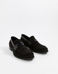 Zign Penny Loafers In Black Suede And Leather