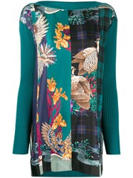 Salvatore Ferragamo Floral Print Contrast Knitted Top Green