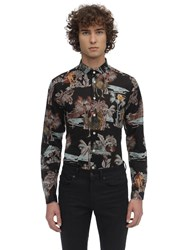 Etro Printed Stretch Cotton Jersey Shirt Dark Blue