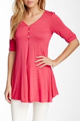 24 7 Comfort Elbow Sleeve Henley Plus Size Available Pink