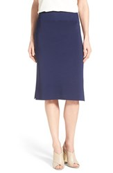 Women's Halogen Side Slit Knit Pencil Skirt Navy Peacoat