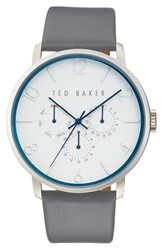 Men's Ted Baker London Multifunction Leather Strap Watch 42Mm