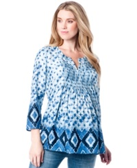A Pea In The Pod Maternity Printed Pintucked Blouse Blue White Print