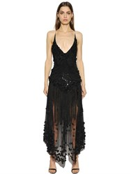 Amen Couture Fringed Embellished Tulle Gown