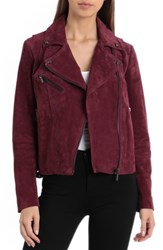 Bagatelle Suede Biker Jacket Berry