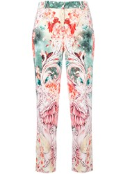 Roberto Cavalli Floral Print Cropped Trousers White
