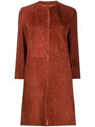 Drome Panelled Concealed Fastening Coat Red