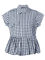 Harvey Faircloth Gingham Flared Shirt Cotton Blue