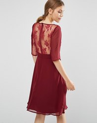 Elise Ryan Midi Dress With Lace Sleeve And Back Red
