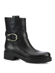Gucci Dionysus Leather Moto Boots Black