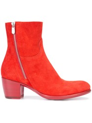 Rocco P. Zipped Boots Women Leather Suede 38 Red