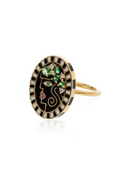 Holly Dyment Face Diamond Ring Gold Green