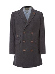 White Stuff Men's Peak Double Breasted Overcoat Grey