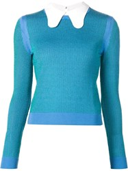 Carven Collared Ribbed Sweater Blue