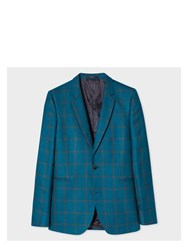 Paul Smith Men's Slim Fit Teal Linen And Silk Blend Check Blazer Blue