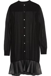 Mcq By Alexander Mcqueen Leather Trimmed Chiffon Shirt Dress Black