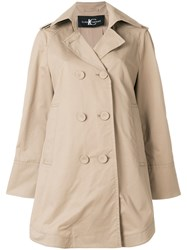 Luisa Cerano Double Breasted Flared Trench Coat Nude And Neutrals