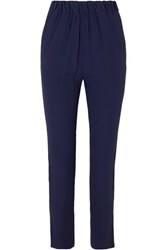 Marni Crepe Straight Leg Pants Navy