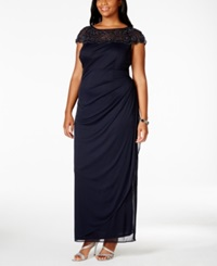Msk Plus Size Embellished Ruched Gown Navy