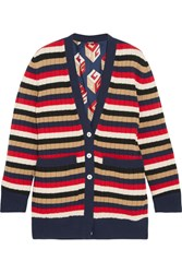 Gucci Reversible Striped Wool And Printed Silk Satin Cardigan Navy