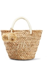 Kayu St Tropez Mini Pompom Embellished Embroidered Woven Straw Tote Sand Gbp