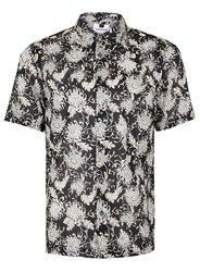 Topman Black And White Floral Short Sleeve Casual Shirt