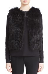 J. Mendel Women's Beaded Back Genuine Fox Fur Vest