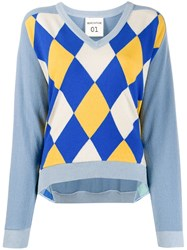 Semicouture Argyle Intarsia Sweater Blue