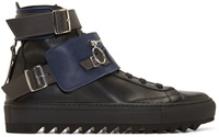 Raf Simons Black And Navy Leather Buckle High Top Sneakers