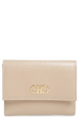 Salvatore Ferragamo Women's Gancini Leather Wallet Beige Macadamia