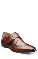 Men's Florsheim 'Sabato' Wingtip Monk Strap Shoe Medium Brown
