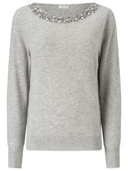 Jacques Vert Bling Neck Detail Jumper Light Grey
