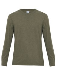 Faherty Notch Long Sleeved Jersey T Shirt Khaki