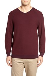 Tommy Bahama Men's 'Make Mine A Double' Reversible Pima Cotton V Neck Sweater Aged Claret